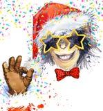 Apaår Kallt apaparti för flygillustration för näbb dekorativ bild dess paper stycksvalavattenfärg Apa Santa Claus vektor illustrationer