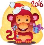 Apa för röd brand - symbol av det nya 2016 året Royaltyfria Foton