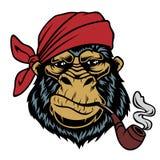 Apa i en bandana med ett röka rör royaltyfri illustrationer