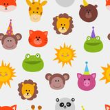 Apa, lejon, katt, groda och sol för modell för maskerad för garnering för festival för uppsättning för vektor för djurkarnevalmas royaltyfri illustrationer