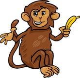 Apa med banantecknad filmillustrationen Arkivbild