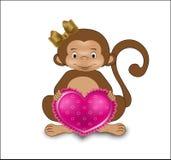 Apa med hjärta Fotografering för Bildbyråer