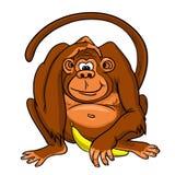 Apa med sitta för banan stock illustrationer