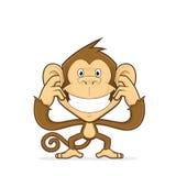 Apa som stänger hans öron vektor illustrationer