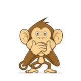 Apa som stänger hans mun royaltyfri illustrationer