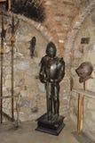 NAPA Valley, California- April 6, 2012:Knight's armor in Castello Di Amorosa. Knight's armor in Castello Di Amorosa winery Royalty Free Stock Photos