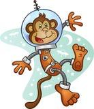 Apaastronaut Cartoon Character i en utrymmedräkt Arkivbild