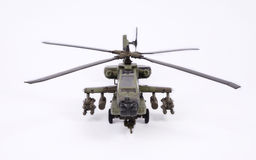 Apache AH64. Front view of apache helecopter model on white backgriund Royalty Free Stock Photo