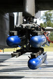 Apache AH64 Missiles. Missile load attached to an Apache AH64 attack helicopter in service with the British Army stock photography