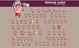 Apache charakteru animaci Naczelny Gemowy Sprite Ilustracja Wektor