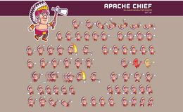 Apache Chief Game Character Animation Sprite Stock Image