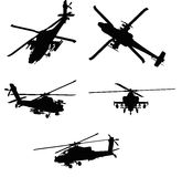 Apache Helicopter. An illustrated set of silhouettes of the Apache war helicopter in different positions, isolated on white background Royalty Free Stock Photos