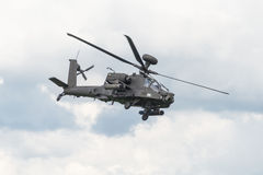 Apache Helicopter. Cosford, UK - 8 June 2014: A British Army Apache helicopter, displaying at the RAF Cosford Airshow Royalty Free Stock Photos