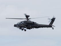 Apache helicopter. Duxford, UK - May 23rd 2015: An Apache Helicopter of the British Army, flying at Duxford VE Day Airshow Stock Photo