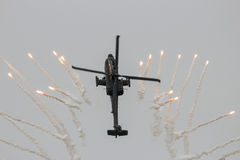 Apache helicopter flares Royalty Free Stock Image