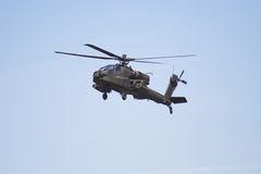 Apache helicopter in flight. At an airshow royalty free stock photo