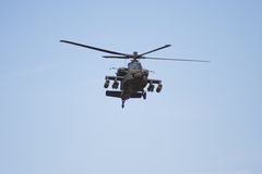 Apache helicopter in flight royalty free stock photography