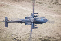 Apache helicopter in flight. Apache longbow gunship helicopter in flight from above Stock Photos