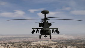 Apache helicopter hovering in the sky