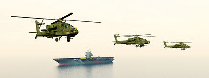 Apache Helicopters and Aircraft Carrier Stock Photo