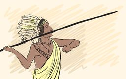 Apache Indian warrior throwing a spear. Corporate identity sketch. Illustration Stock Images