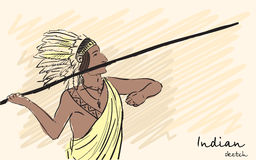 Apache Indian warrior throwing a spear. Corporate identity sketch. Vector Royalty Free Stock Photos