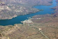 Apache Lake. Aerial view of Apache Lake and marina Stock Images