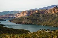 Apache Lake. A look down on Apache lake off the Apache Trail near Phoenix Arizona Royalty Free Stock Photos