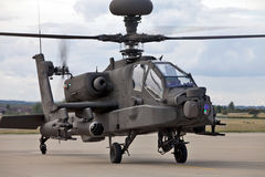 Apache Longbow. BENSON, ENGLAND - AUGUST 25: Apache Longbow helicopter having finished its static display role, prepares to depart the Benson air show on August Royalty Free Stock Photos