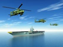 Apache lotniskowiec i helikoptery Zdjęcia Royalty Free