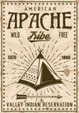 Apache plemienia rezerwaci rocznika indyjski plakat Ilustracja Wektor