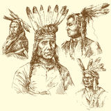 Apache portrait. Hand drawn collection Royalty Free Stock Photography