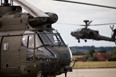 Apache and Puma helicopters Royalty Free Stock Images