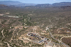Apache Trail. The Apache Trail Highway and surrounding desert from above Royalty Free Stock Photos