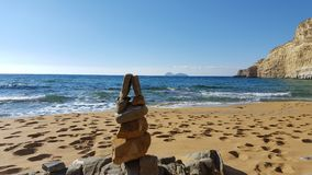 Apacheta. At a beach in Crete Stock Photos