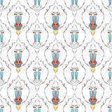 Apafärgläggningöversikter i bohostil Etnisk hare Mandrilltryck royaltyfri illustrationer