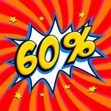 60 apagado El sesenta por ciento 60 de la venta en fondo torcido rojo Forma de la explosión del estilo del estallido-arte de los  Foto de archivo libre de regalías