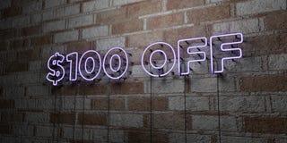 $100 APAGADO - señal de neón que brilla intensamente en la pared de la cantería - 3D rindieron el ejemplo común libre de los dere Fotografía de archivo libre de regalías