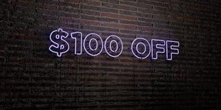 $100 APAGADO - señal de neón realista en fondo de la pared de ladrillo - 3D rindieron imagen común libre de los derechos Fotos de archivo