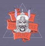 Apahuvud Grungetryck tappning för stil för illustrationlilja röd Arkivfoton