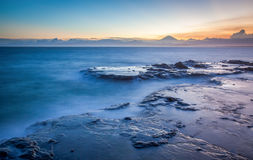 Apan seacape coastline and Mt. Fuji. Japan seacape coastline and Mt. Fuji in beautiful sunset Royalty Free Stock Photography