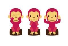Apan ser ingen ondska, hör ingen ondska, talar ingen ondska royaltyfri illustrationer