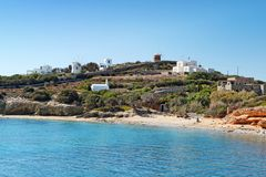Apantima strand av Antiparos, Grekland arkivfoto