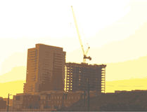 Apaprment Construction. A crane behind two newly constructed apartment buildings stock illustration
