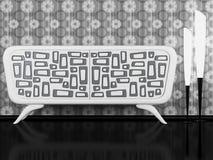 Aparador blanco y negro moderno de interior Fotografía de archivo