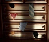 Aparador de madera de Brown encendido por el sol Pedazos de ropa en cajones abiertos Fotografía de archivo libre de regalías