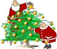 Aparando a árvore de Natal ilustração do vetor