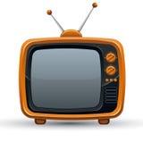 Aparato de TV retro anaranjado brillante Foto de archivo libre de regalías
