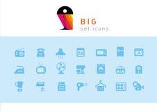 Aparatos electrodomésticos creativos determinados de los iconos libre illustration