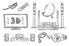 Aparatos electrodomésticos de la TV y de los sonidos fijados libre illustration